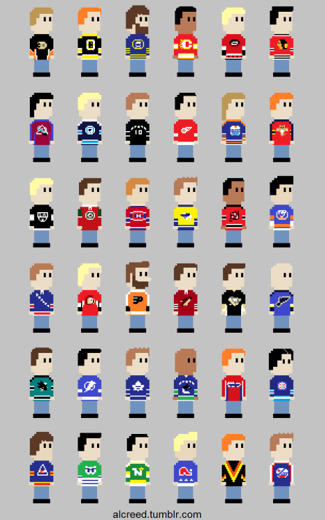 Here they are, all in one place, ALL THIRTY NHL JERSEYS.  Plus, a few extras for those of us who love vintage jerseys. ;) 8-Bit NHL Jerseys