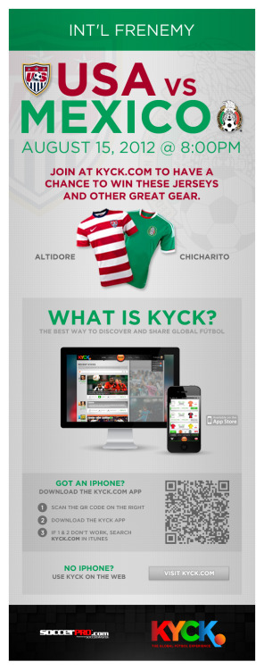 "Create an account on KYCK before Wednesday's USA vs. Mexico ""International Frenemie"" match, and you could win a Jozy Altidore USA jersey OR a Chicharito Mexico jersey! (Courtesy of SoccerPro.com)"