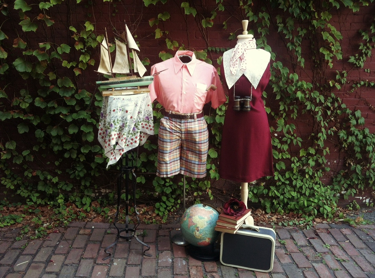 My Moonrise Kingdom window display for Oona's Experienced Clothing, a vintage gem in Harvard Square, Cambridge. [All clothing items available for sale at Oona's]