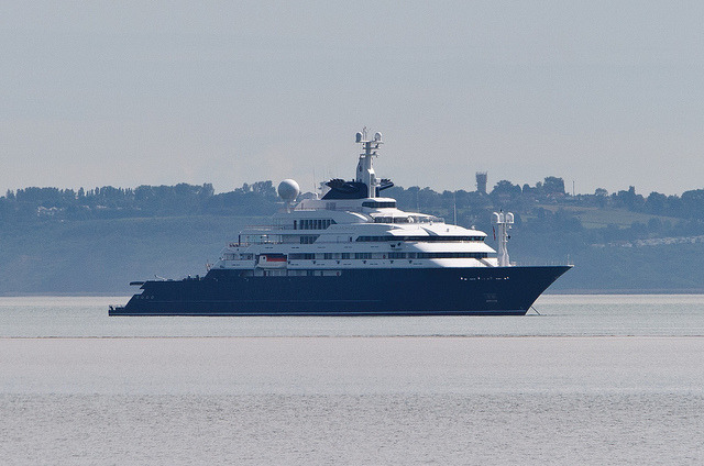 "How the Other Half Live on Flickr.Paul Allen's Superyacht ""Octopus"" .  Very proud to get a shot of this, I recognised it whilst taking other shots but figured that by the time I got my telephoto lens out of my bag and moved my tripod, it would be too late.  I gave up.  I carried on shooting other stuff and just when I was packing away my gear,  out of curiosity I wanted to see where it would now be. To my surprise, she was now moored up and facing the opposite direction.  If curiosity didn't get the better of me, I wouldn't have got this!"