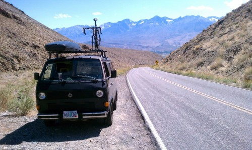 ronaldhope:  Vanagon climbing up to the Ancient Bristlecone Pine forest in California