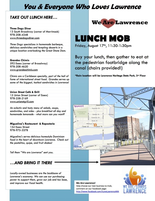 We are Lawrence Lunch Mob! Support local economy by buying lunch on August 17th at Three Dogz Dinner, Grandes Chimis, Union StreetCafe & Grill, or Miguelina's Restaurant and meet on the Pedestrian Footbridge on Canal st! Chairs provided!
