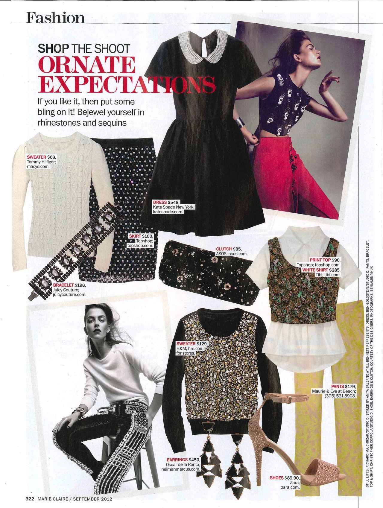 "Classic white Tibi shirt featured in Marie Claire's ""Ornate Expectations"" story in their September Issue. Perfect for layering underneath fun fall patterns."