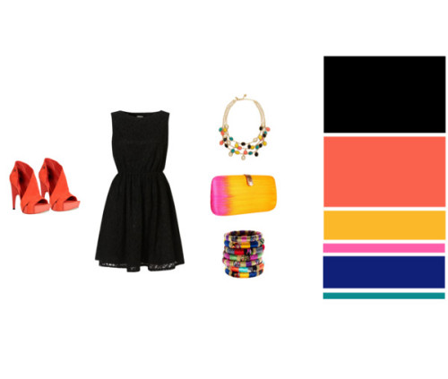 Outfit for a summer night, black with colorful details! ♥ Lace dress, Topshop♥ Shoes, Costume National♥ Clutch, Rebecca Minkoff♥ Necklace, Kate Spade♥ Bracelets, Madewell