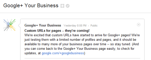 Custom URLs for Google+ pages!! + Info | +GoogleBusiness