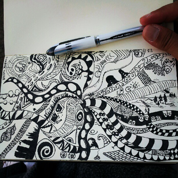 #pen #tentacles #newyork #doodle #moleskine #ink #blackandwhite  (Taken with Instagram)