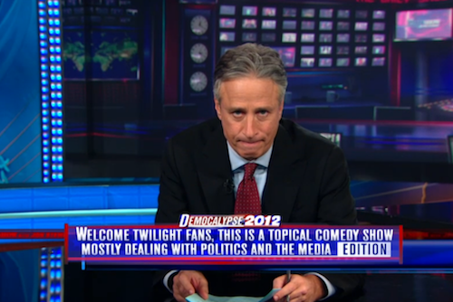 comedycentral:  On last night's Daily Show, Jon Stewart welcomed actor Robert Pattinson to the show and with him a number of Twilight fans who may have been tuning in for the first time. Click the image to watch Jon and Rob nearly split their Spanx over a couple pints of Ben & Jerry's.