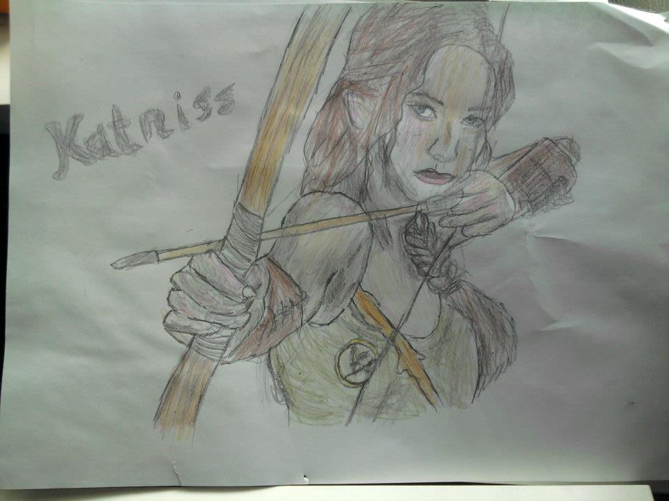 Very cool fan-drawing of Katniss! eccentricvixen:  Katniss