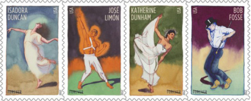 New USPS stamp series honors innovative choreographers – Isadora Duncan, José Limón, Katherine Dunham and Bob Fosse