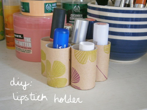 diy lipstick holder @ www.skyepennant.blogspot.co.uk