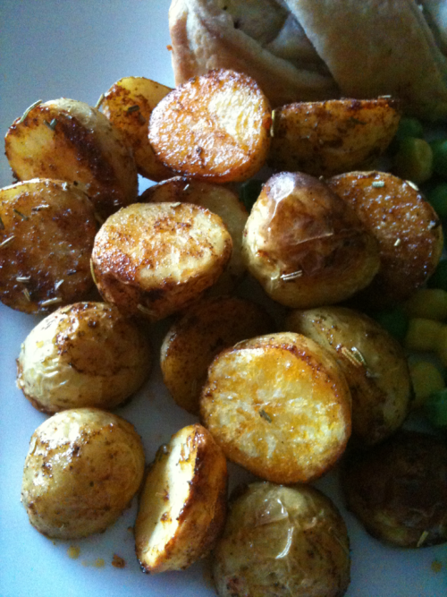 Baby Potatoes roasted in olive oil, garlic, Rosemary and paprika!
