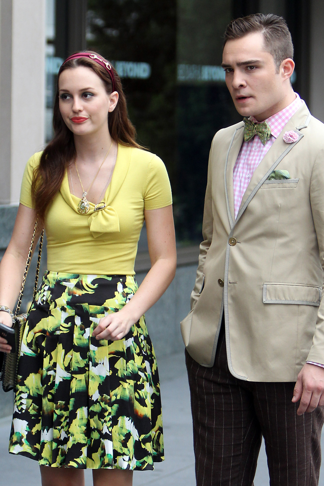 aclockworkpink:  Leighton Meester and Ed Westwick on the set of Gossip Girl, August 11th, 2012