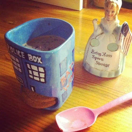 TARDIS mug I made! My Digestive biscuits fit perfectly in the little cubby hole! (submitted by eclectic-wonderland)