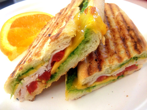 Turkey cheddar and tomato panini @ Speedy Deli, NYC.