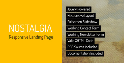 Nostalgia – Responsive Landing Page Nostalgia is a HTML responsive landing page – personal or corporate, based on full-screen slider. The template is maintained in a minimalist, contrasting style. Background images kept in retro tones contrast with modern minimalist content. Landing page is divided into sections: hero, sliding gallery, features with video preview, testimonials and contact with map of location and working contact form. Template has a responsive layout that looks great on mobile and tablet devices.