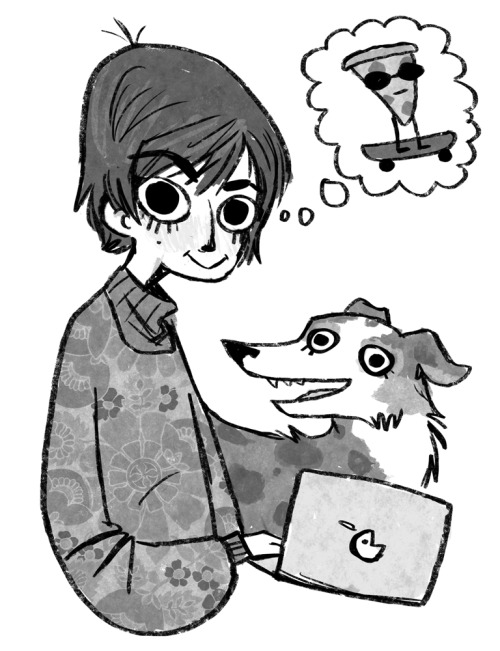 whipped up a new portrait for the back of my minicomic, for SPX   with special guest stars Addie and my subconscious