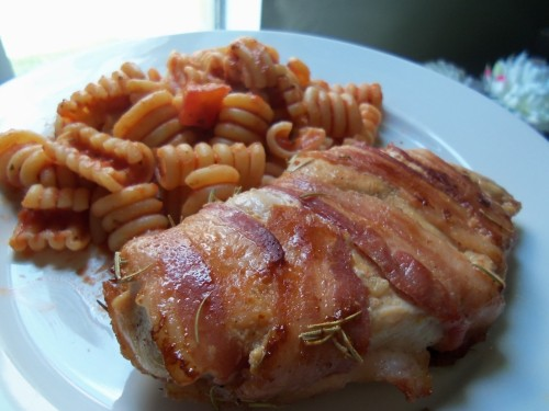 rosemary cherry stuffed chicken wrapped in bacon with pasta!!