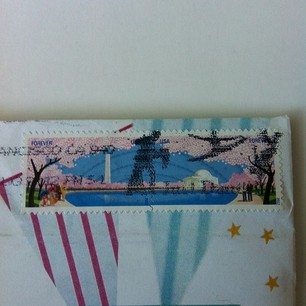 Incoming from California… I love the dance postmark on this cherry blossom setenant stamp!