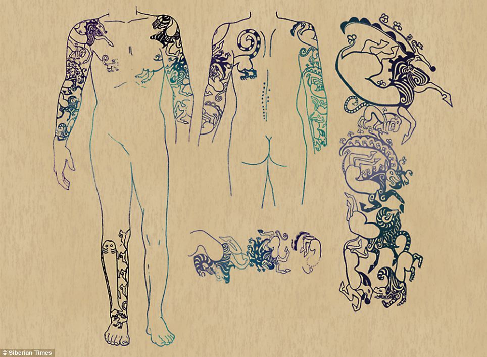 The tattoos of one of two warriors found on the ancient permafrost burial site at Ukok Read more: http://www.dailymail.co.uk/sciencetech/article-2188157/The-astonishing-2-500-year-old-tattoos-Siberian-princess—little-changed-art.html#ixzz23YGX5V00