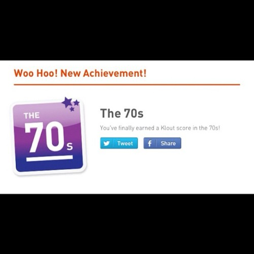 Finally hit the 70s on #Klout! #socialmedia #kloutscore #fashion #style #beauty #jewelry #family #hollywood #celebrities #weddingdresses #hautecouture #handbags #hairstyles #food #wine #quotes #sayings #entertainment  (Taken with Instagram)
