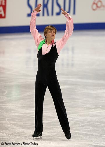 Tomas Verner's retro - and odd - costume for his short program at the 2007 World Championships. His music was Vanessa-Mae's version of Bach's Toccata and Fugue.