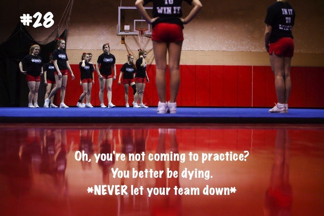 cheer-is-religion:  and then there's me, who comes to practice with a fever, chest infection, headache, earache, a pulled muscle and a blocked nose. good on you for not coming because you 'have a cold'