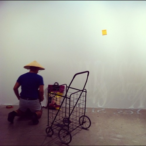 "Installing ""Seabag"" and ""Yes, Sir"" for the upcoming group show: ""The Great Refusal: Taking On New Queer Aesthetics"" (Taken with Instagram)"