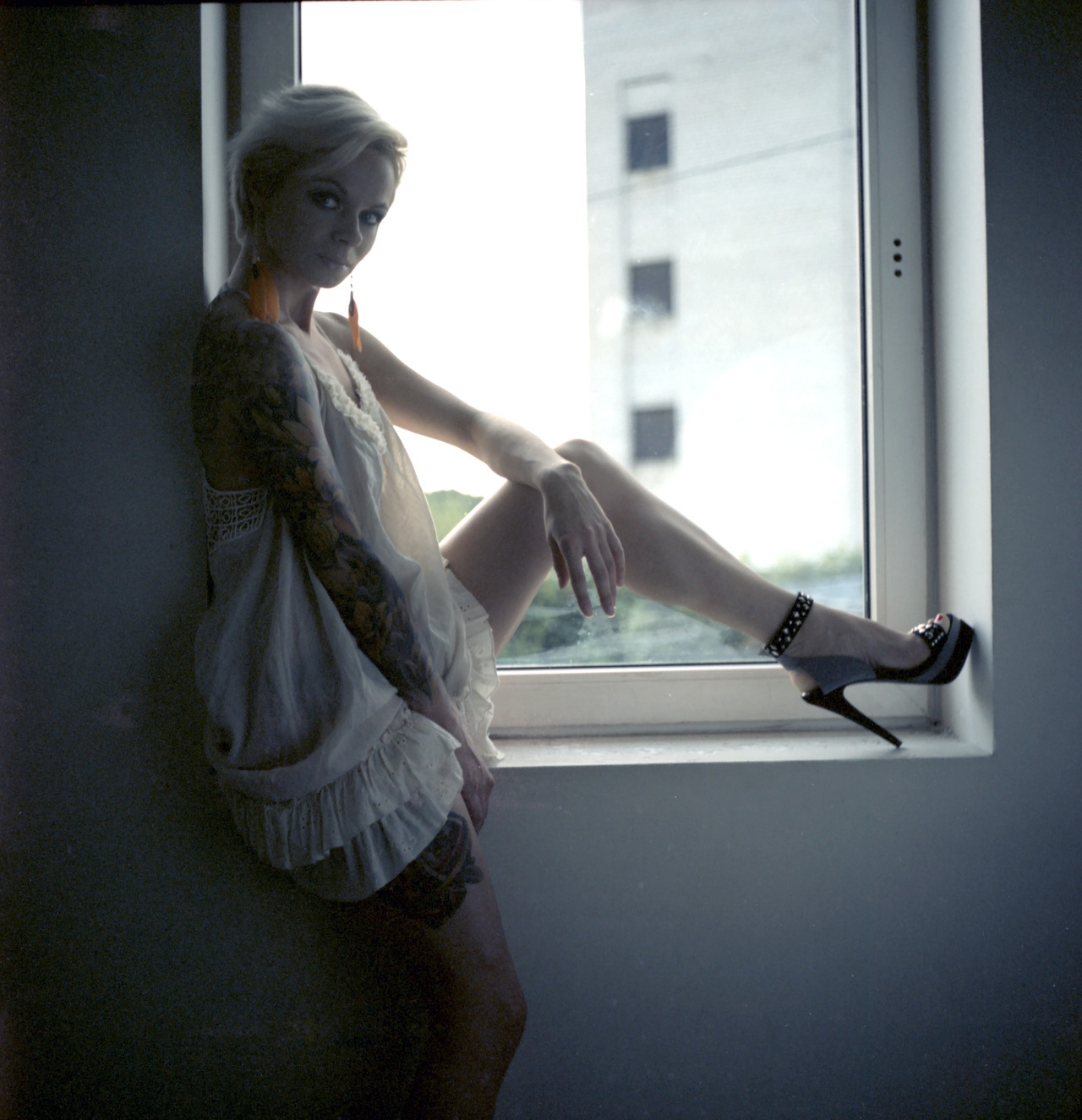 Inga, tattoo model for my tattoo calendar Rolleicord Fuji Provia 100