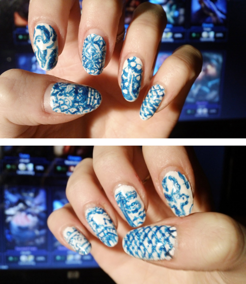 Willow pattern nails! Featuring: Return of the shaky left hand… I had trouble doing my right hand this time, & also had trouble taking a steady photo. Hope you like my glittery take on fine china, guys!