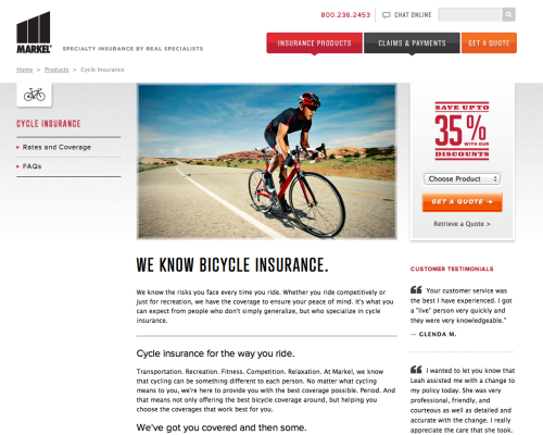 Bicycle Insurance More Info (What? Not available in CA? Boo this noise.)