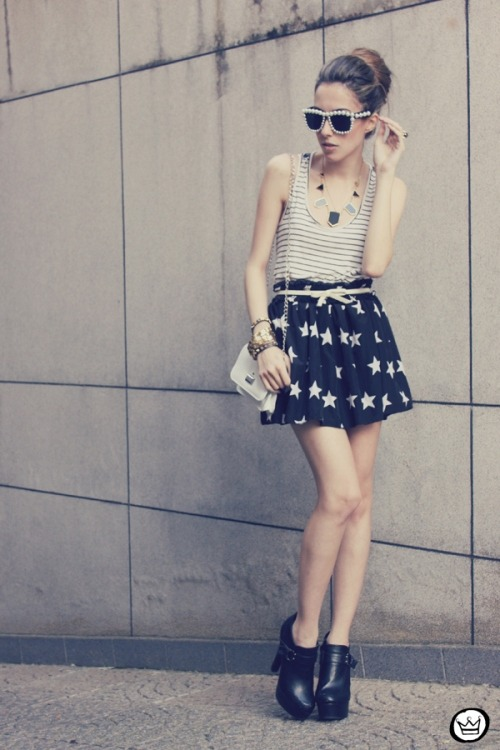 pretaportre:  Flavia Desgranges, style blogger of Fashion Coolture, in 'The Soulsavers' wearing a skirt from Romwe, Choies sunnies, and shoes from ASOS.