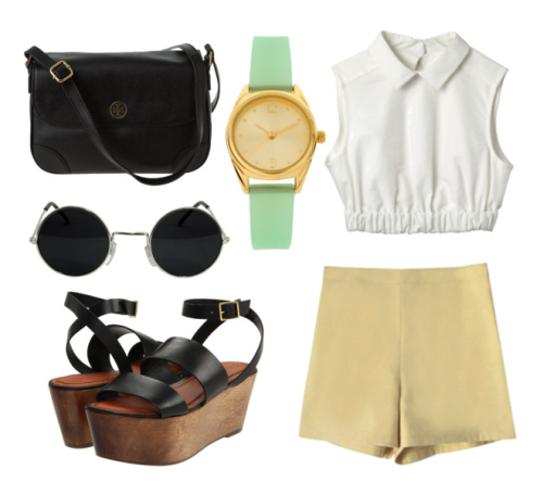 what-do-i-wear: HANDBAGS Tory Burch Asos 'Ish' Design Watch CARVEN top simple sunglasses  Elizabeth and James sandals Nadinoo — Fleur's button shorts (image:  thestylelab)