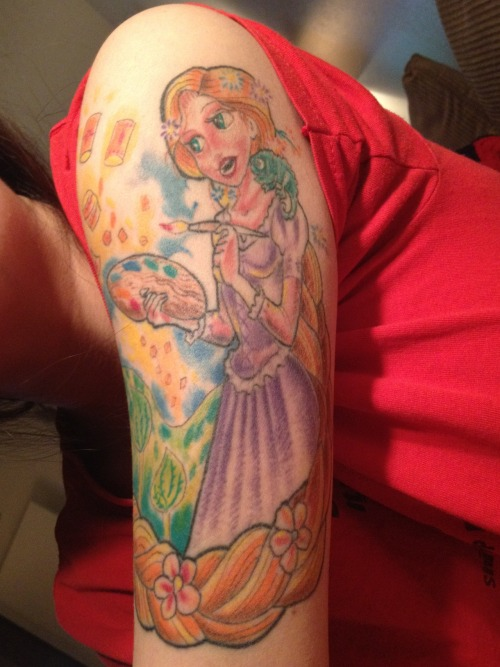 disneyink:  Not yet finished… Going to get some of the birds she has painted on her walls on the inside… By far my favorite Disney Princess, which says a whole lot considering Ariel has been my favorite since I was 3… I'm now 24… :) It was worth the 4 continuous hours of pain… I provided my tattoo artist with her picture, and he did the rest… <3 Dave of Calaveras Custom Tattoos, in San Antonio, TX…