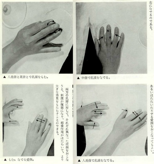 How to feel her breasts, vintage Japanese time lapse illustration from Young Person's Sexual GuideAlso    なんだこの本は。