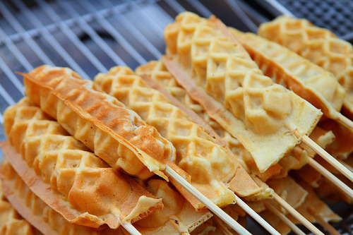 k-ngaroo:  are these waffles on a stick   …i miss these. this adds to the anticipation for the Philippines trip this summer.