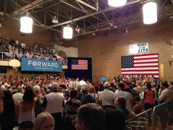 Marshalltown, IA crowd awaits President Obama (Olivier Knox)