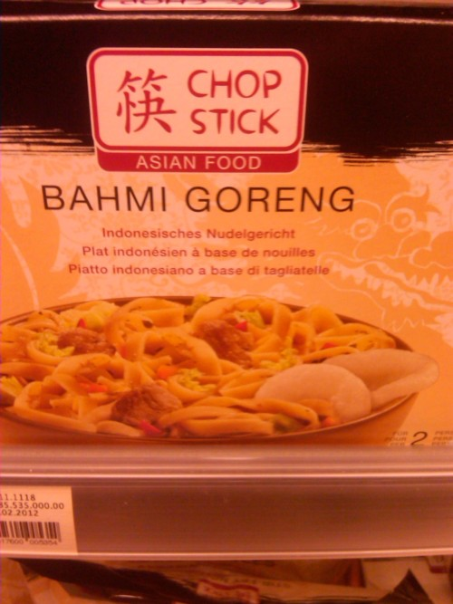 "In Indonesia we have a dish named ""Bakmi Goreng"" in which Bakmi is a kind of noodle. ""Goreng"" means to fry, so it's a stir fried noodle made from wheat. This differs it from other kinds of noodles made from rice, for example.  What's interesting is that it has somehow insinuated itself into Swiss cuisine, bastardized into ""Bahmi Goreng."" I really don't know how it has done this."