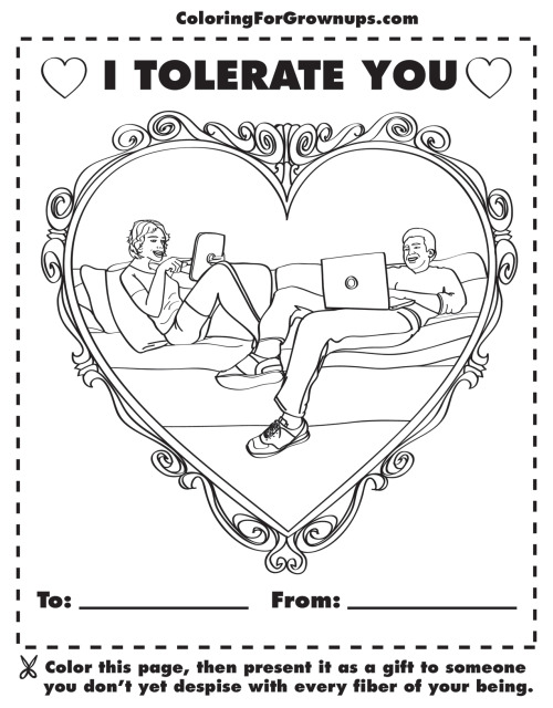 Modern love.Download this page -Print it / Color it / Mail it back -Like us on Facebook -Get the coloring book