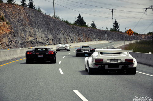 sexfoodbikesetc:  Three generations of Lamborghini V12s and De Tomaso Pantera GT5 by Dylan King Photography on Flickr.  I SPY a Countach, a DiabLO, a Murciealgo, and i think another countach.. FACT CHECK