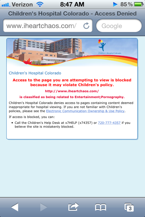 Children's Hospital doesn't like your kind.