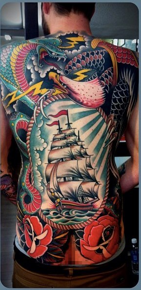 Check Out This Badass Old School Full Back Piece By Tim Hendricks
