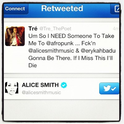 Really?!?!?!?! #AliceSmith Retweeted Me?! First @goapele Now This?! I'm Sure I'll Die This Year No Doubt Bout That ::: #twitter #retweet #alice #smith #goapele #afropunk #starstruck ::: 😁😁😁😁😍😍😍😍 (Taken with Instagram)