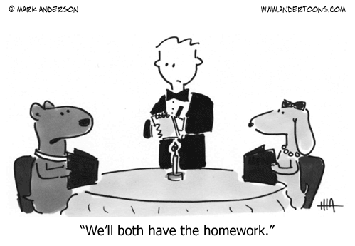 This is humorous because Doug Funny is the waiter. [andertoons ,via]