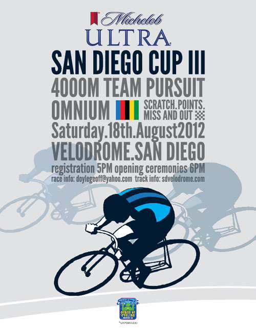 THIS WEEKEND AT SAN DIEGO VELODROME   Definitely the highlight of the season at San Diego Velodrome and probably one of my favorite track race days in Southern California.  Don't miss out on the 3rd annual San Diego Cup this weekend.  Who will win the big showdown between Adam's Ave and Swami's Cycling?