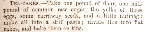 treselegant:  Recipe for 'Tea-Cakes'. Cassell's Family Paper, 1863-4.