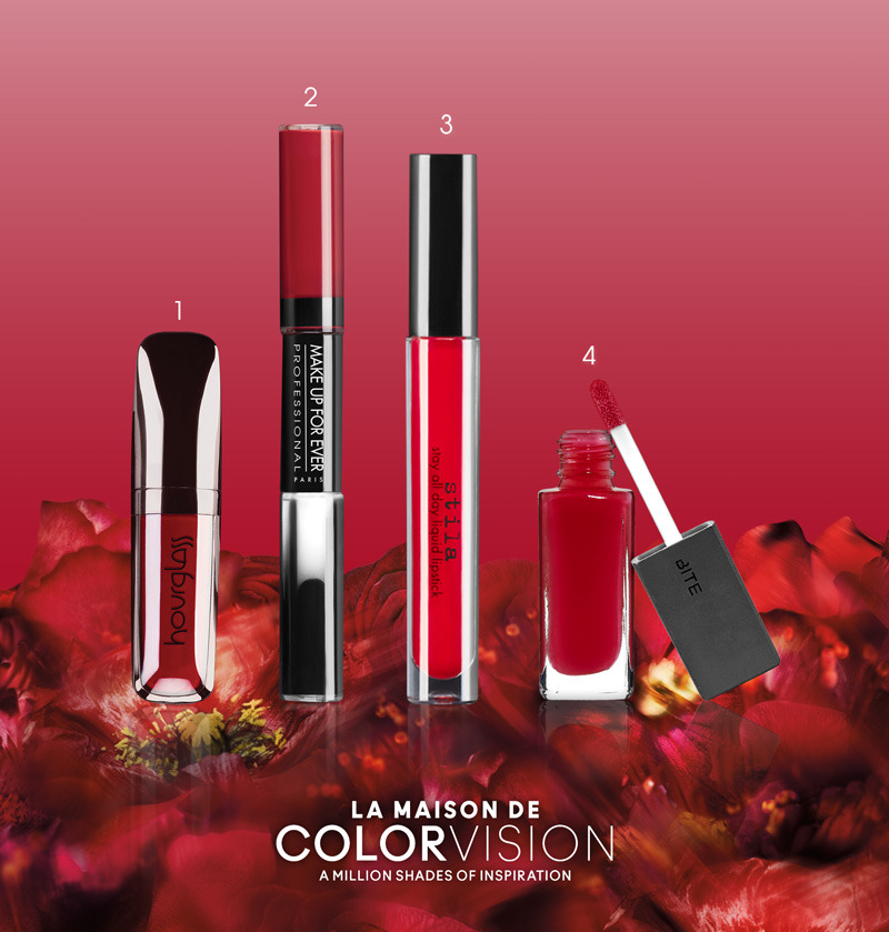 MAKING HISTORY: THE LIQUID LIPSTICK This season, the best thing to do is dodge the bullet. These exclusive new liquid lipstick formulas give the season's best ColorVision crimson velvets super saturation. 1. HOURGLASS OPAQUE ROUGE LIQUID LIPSTICK in Icon: Sets in 30 seconds for 14 hours of dramatic color (trust us—we're still wearing last night's). 2. MAKE UP FOR EVER AQUA ROUGE in 09 Burgundy: Create your perfect shape, and then lock it in with a clear topcoat. 3. STILA STAY ALL DAY LIQUID LIPSTICK in Beso: This high-pigment formula includes moisturizing avocado and Vitamin E. 4. BITE HONEY LIP LACQUER in Aurora: This formula has a perfectly glossy, not sticky, finish. SPOT IT. SHOP IT. ▸