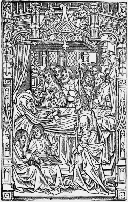 allaboutmary:  A print of Mary on her deathbed surrounded by the apostles from a Missal published by Simon Vostre.