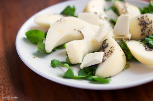 Pears on Watercress and Soy Cheese with Poppy seed Dressing (by harald walker) Pears on Watercress and Soy Cheese with Poppy seed Dressing recipe on Vegalicious