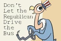 "The new book is OUT! DON'T LET THE REPUBLICAN DRIVE THE BUS by Erich Origen & Gan Golan From the satirical masterminds behind the New York Times best-seller Goodnight Bush (more than 125,000 copies sold) comes this scathingly funny political parody of the contemporary children's classic Don't Let the Pigeon Drive the Bus! FULL WEBSITE  Don't Let the Pigeon Drive the Bus! is the story of a creature putting his own impossible desires above everything and everyone, using all means necessary to achieve an end that is ridiculous and disastrous. Denied his impossible ambition, the bird grows angrier and has a full-blown tantrum. Such behavior is par for the course for your average three-year-old. But while a child's tantrum may be ""developmentally appropriate,"" a rampaging id is more frightening in adults – and can have consequences that are far from cute. Republicans want government jobs, but they hate government. They prefer ""market-based solutions"" – like the Great Depression. Yup, the Republicans were driving the bus just before the Great Crash of 1929. After that disaster, Americans kicked the party to the curb and demanded a New Deal. It worked. From the 1940s to the 1970s, America experienced its Great Prosperity. Ever since then, Republicans have attempted to rewrite the rules. Just like the pigeon in Don't Let the Pigeon Drive the Bus! they've tried everything to get us to hand over the keys. So charming, that bird. The dominance of the Democratic species ended soon after the defeat of Jim Crow. Republicans smelled an opportunity and hatched the Southern Strategy, which has since migrated across the nation with wild success. Republican survival is now fully dependent on the American population remaining bitterly divided against itself. Today's Republicans are more bigoted and anti-intellectual than ever. They want us to take everything on faith, most importantly the idea that markets are self-regulating — a notion that even Alan Greenspan has called a ""mistake."" An unrestrained free-market utopia is an impossibility, and attempts to create one have resulted in bubble after bubble.Not that the Democrats should get a free pass. Like Republicans, they've sold out to the casino-economy policies backed by Wall Street. They've joined the squawking of hawks, backed the indefinite caging of citizens, and flown with the Republican flock in pursuit of Juan Crow. Yet for all their faults, at least the Democrats profess to believe in the common good and occasionally make an effort at being the party of all Americans, not just a select few. Ideologies get passed down from one vulture to the next via regurgitation. We hope this book helps inoculate you against this strain of bird flu. In the meantime, if you don't want to get thrown under it, then please…  DON'T LET THE REPUBLICAN DRIVE THE BUS!Finally, a book you can say ""no"" to!"