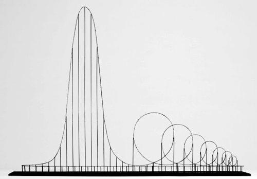 "satans-bacon:  The Euthanasia Coaster is a concept for a steel roller coaster designed to kill its passengers. In 2010, it was designed and made into a scale model by Julijonas Urbonas, a PhD candidate at the Royal College of Art in London. Urbonas, who has worked at an amusement park, stated that the goal of his concept roller coaster is to take lives ""with elegance and euphoria."" It is a ride to the death. The seven loops or ""inversions"" put the human body under such stress that it causes the brain to be starved of oxygen, as the heart simply cannot push blood against the enormous g-forces. Even if it kills you, it is designed to still be a fun death. An honourable thought, if rather macabre."